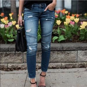 Denim - New! Frayed Hem Moto Skinny Jeans